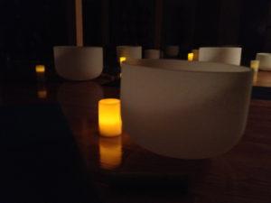 crystal bowls and candles